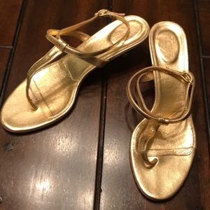 J. Crew gold kitten heel dress sandal size 9